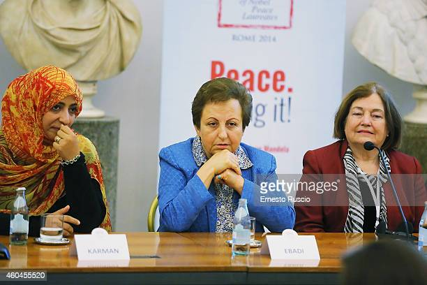 Shirin Ebadi attends the closing press conference of the 14th World Summit of Nobel Peace Laureates at Protomoteca del Campidoglio on December 14...
