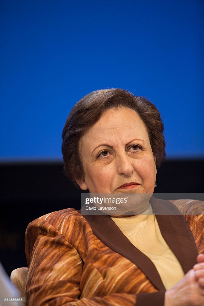 Shirin Ebadi, Iranian human rights lawyer and winner of the Nobel Peace Prize, at the Hay Festival, on May 28, 2016 in Hay-on-Wye, Wales.