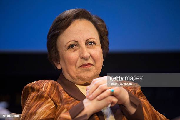 Shirin Ebadi Iranian human rights lawyer and winner of the Nobel Peace Prize at the Hay Festival on May 28 2016 in HayonWye Wales