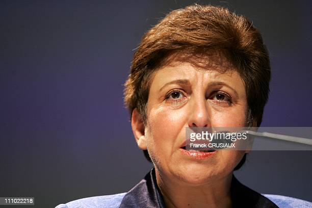 Shirin Ebadi Nobel Peace in 2003 at first Global Forum of the economy responsible in Lille France on October 23th 2007