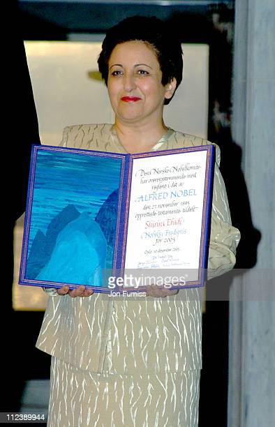 Shirin Ebadi with the 2003 Nobel Peace Prize during 2003 Nobel Peace Prize Awards Ceremony in Oslo Norway