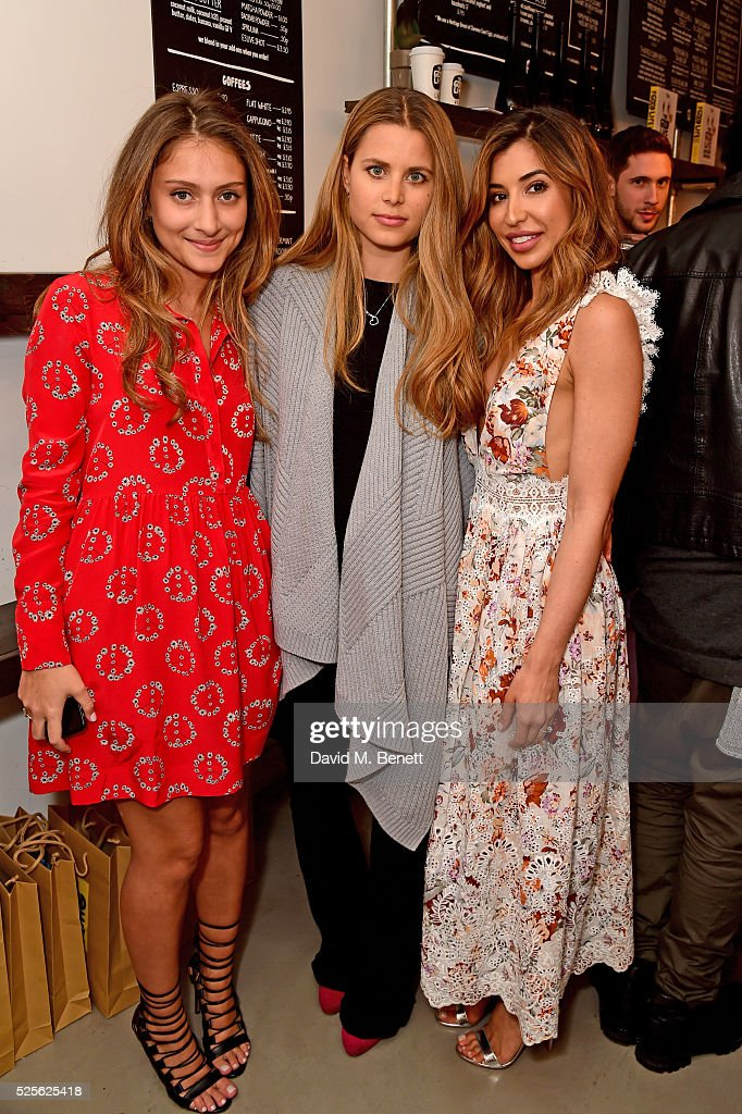 Shirin Kouros (R), Irene Forte and Yasmine Larizadeh (L) attend the The Good Life Eatery Cookbook Launch Party��in Knightsbridge on April 28, 2016 in London, England.