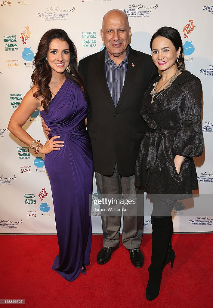 Shirin Rajaee, Dennis Zine and Bita Milanian attend the 2013 Farhang Foundation Short Film Festival held at the Bing Theatre at LACMA on March 16, 2013 in Los Angeles, California.