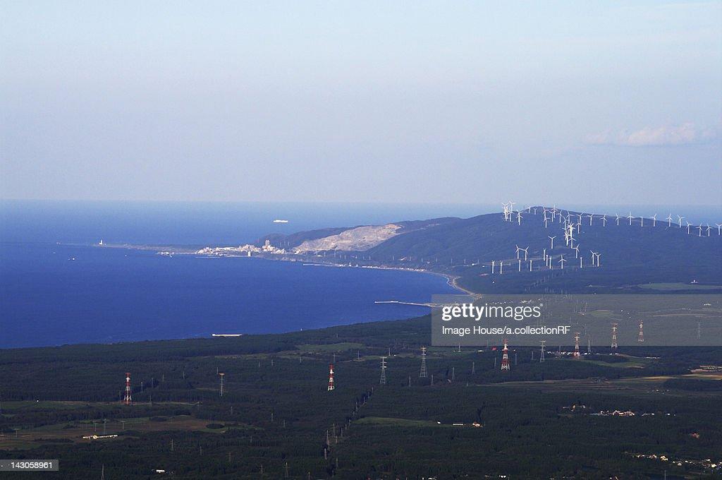 Shiriyazaki cape and wind farm : Stock Photo