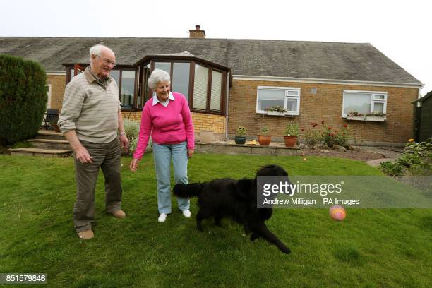 Shirley and Roy Erskine grandparents of Andy Murray with their dog Penny at their home in Dunblane after their grandson's Wimbledon victory on Centre...