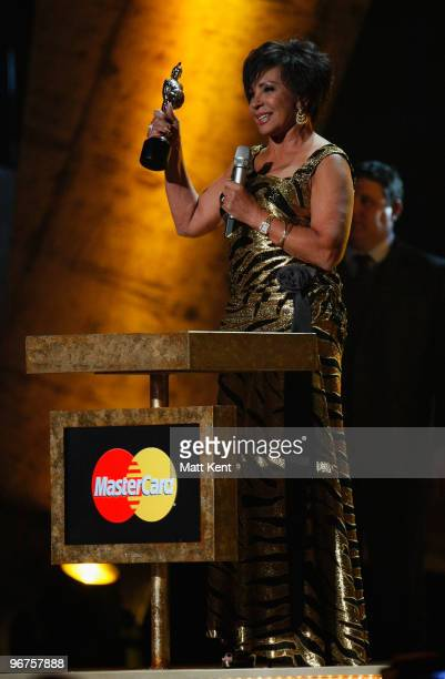 Shirley Bassey on stage at The Brit Awards 2010 at Earls Court on February 16 2010 in London England
