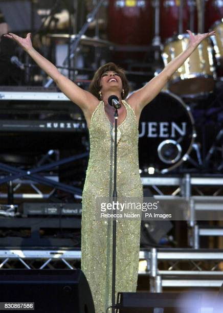 Shirley Bassey on stage in the gardens of Buckingham Palace for the second concert to commemorate the Golden Jubilee of Britain's Queen Elizabeth II...