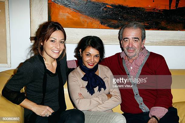 Shirley Bousquet Saida Jawad and Designer Felix Farrington attends the 'Maison Farrington' Cocktail Party on December 10 2015 in Paris France