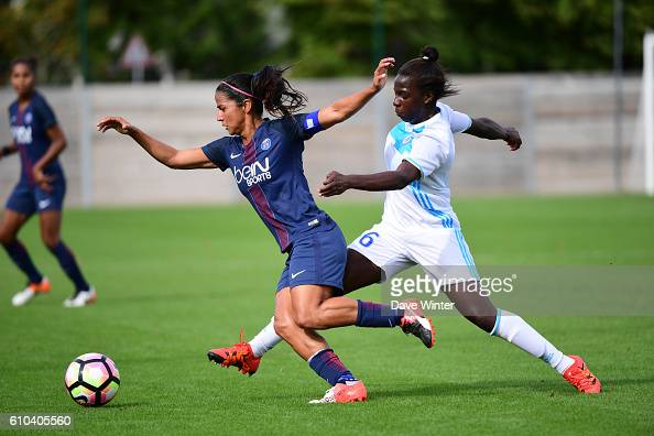 Shirley Cruz of PSG and Viviane Asseyi of Marseille during the women's French D1 league match between PSG and Olympique de Marseille at Camp des...