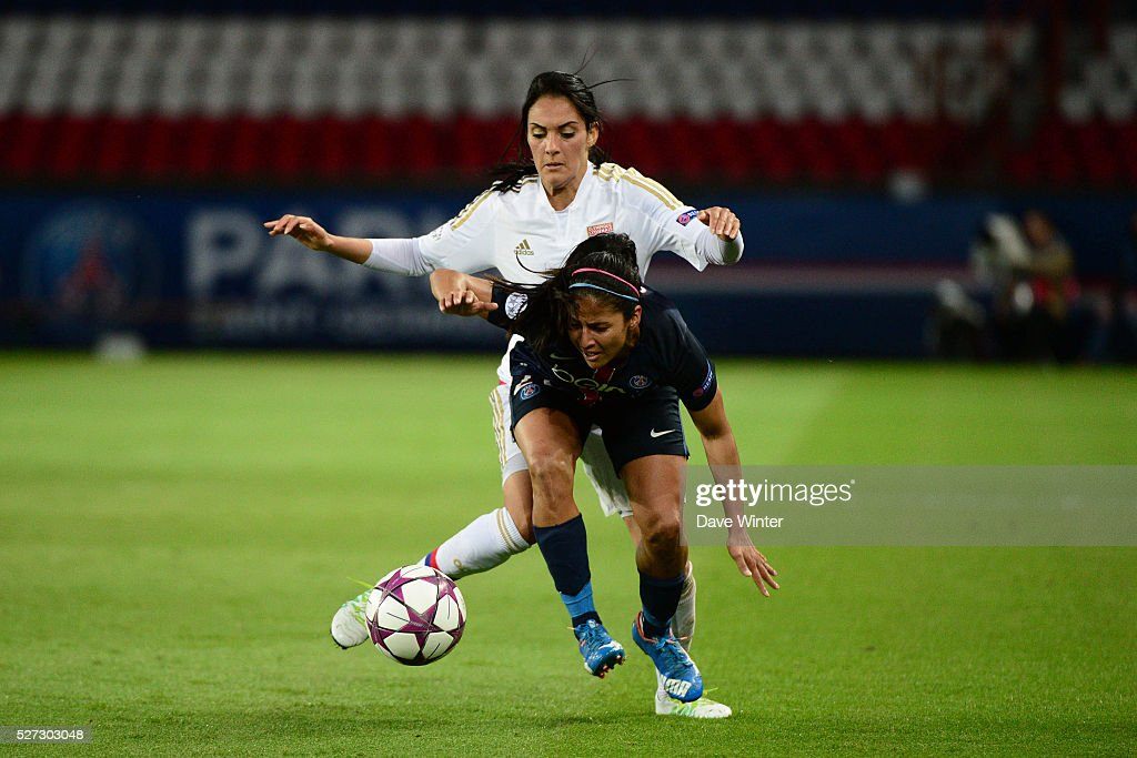 Shirley Cruz Trana of PSG and Louisa Necib of Lyon during the Uefa Women's Champions League match, semi-final, second leg, between Paris Saint Germain and Olympique Lyonnais at Parc des Princes on May 2, 2016 in Paris, France.