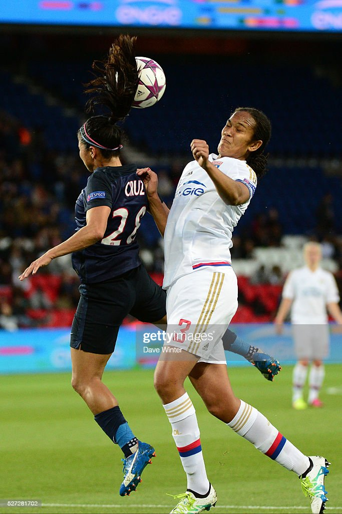 Shirley Cruz Trana of PSG and Wendie Renard of Lyon compete during the Uefa Women's Champions League match, semi-final, second leg, between Paris Saint Germain and Olympique Lyonnais at Parc des Princes on May 2, 2016 in Paris, France.