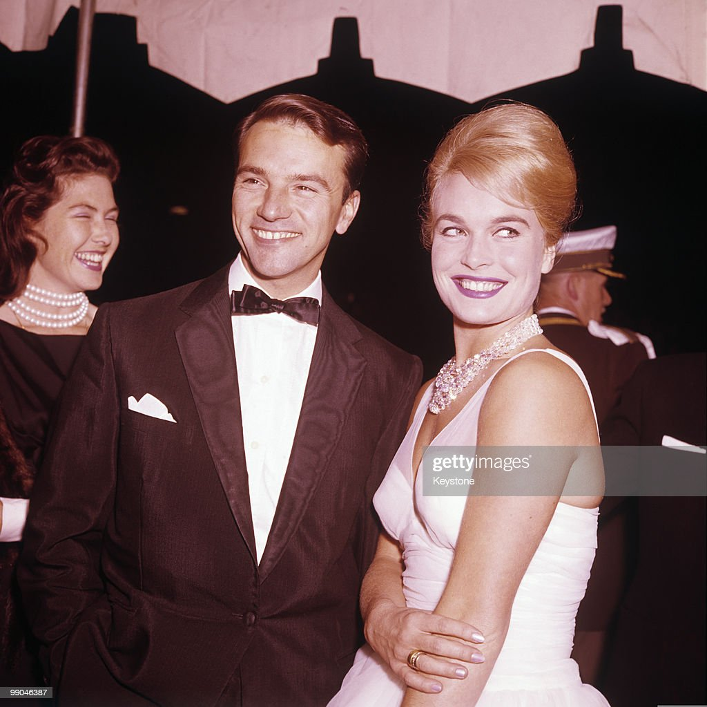 <a gi-track='captionPersonalityLinkClicked' href=/galleries/search?phrase=Shirley+Eaton&family=editorial&specificpeople=900615 ng-click='$event.stopPropagation()'>Shirley Eaton</a>, actress, and singer Dennis Lotis, October 1961.