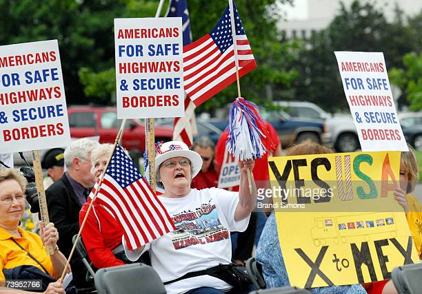 Shirley Ellis of Tulsa Oklahoma participates in a rally sponsored by Americans for Safe Highways and Secure Borders at the Oklahoma state capitol...