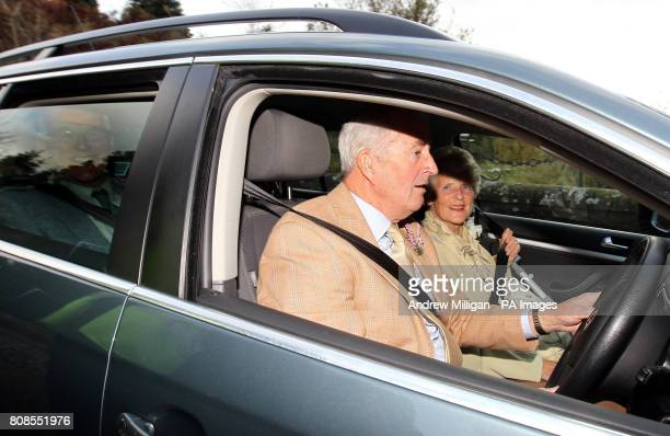 Shirley Erskine grandmother of tennis player Jamie Murray arrives with grandfather Roy for Jamie's wedding to Alejandra Gutierrez at Cromlix House...