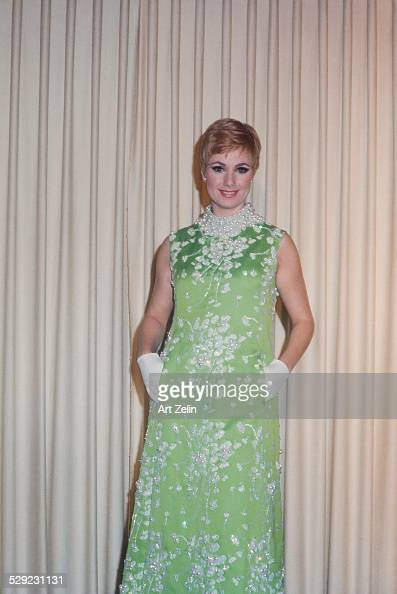 Shirley Jones in a green beaded gown circa 1970 New York