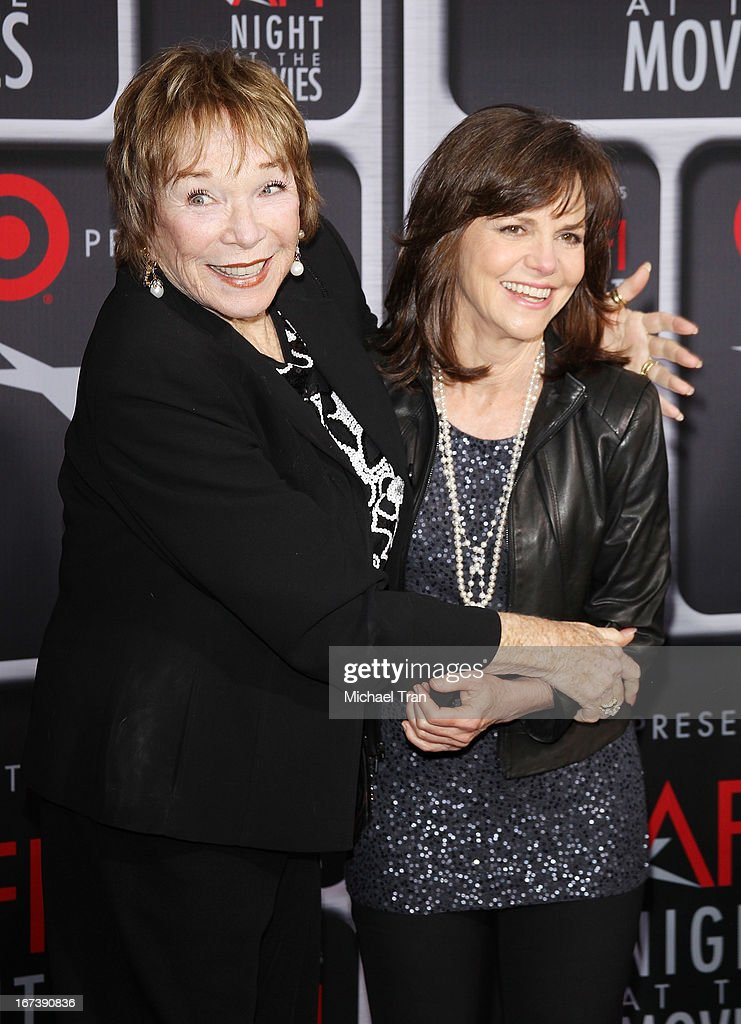 <a gi-track='captionPersonalityLinkClicked' href=/galleries/search?phrase=Shirley+MacLaine&family=editorial&specificpeople=204788 ng-click='$event.stopPropagation()'>Shirley MacLaine</a> (L) and <a gi-track='captionPersonalityLinkClicked' href=/galleries/search?phrase=Sally+Field&family=editorial&specificpeople=206350 ng-click='$event.stopPropagation()'>Sally Field</a> arrive at the Target presents AFI Night at the movies held at ArcLight Hollywood on April 24, 2013 in Hollywood, California.