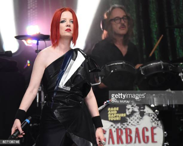 Shirley Manson and Butch Vig of Garbage perform at Chastain Park Amphitheater on August 6 2017 in Atlanta Georgia