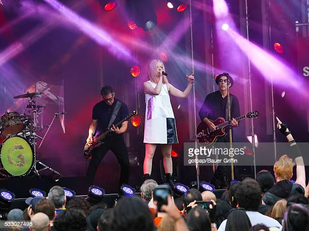 Shirley Manson and Duke Erikson of 'Garbage' are seen performing at 'Jimmy Kimmel Live' on May 19 2016 in Los Angeles California