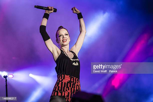 Shirley Manson from Garbage performs at Festival Solidays at Hippodrome de Longchamp on June 24 2012 in Paris France