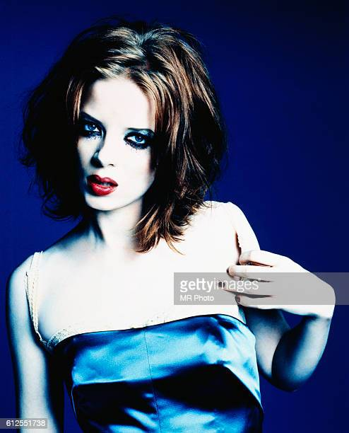 Shirley Manson in Blue Slip Dress