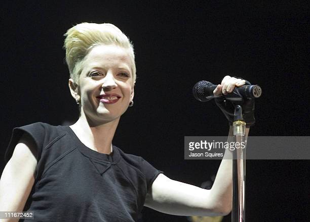 Shirley Manson of Garbage during Garbage performs live in Kansas City on November 27 2001 at Kemper Arena in Kansas City Missouri United States