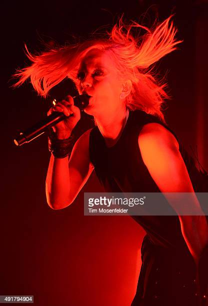 Shirley Manson of Garbage performs during the band's '20 Years Queer Tour' at The Fox Theater on October 7 2015 in Oakland California