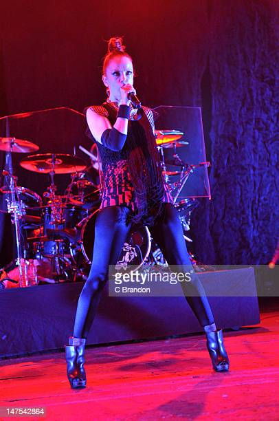 Shirley Manson of Garbage performs on stage at Brixton Academy on July 1 2012 in London United Kingdom