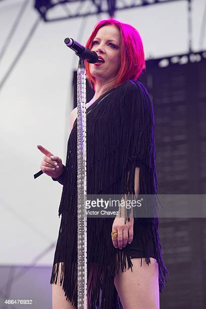 Shirley Manson of Garbage performs on stage during the third day of the Festival Vive Latino 2015 at Foro Sol on March 15 2015 in Mexico City Mexico