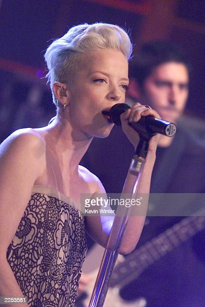 Shirley Manson of Garbage performs on 'The Tonight Show with Jay Leno' at the NBC Studios in Los Angeles Ca Wednesday December 12 2001 Photo by Kevin...