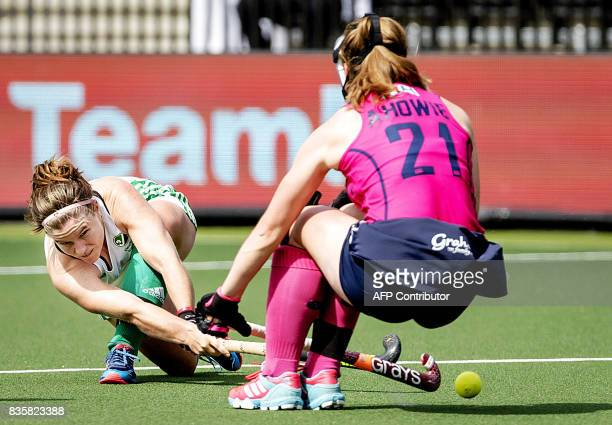 Shirley McCay of Ireland fights for the ball with Alison Howie of Scotland during the women's Rabo EuroHockey Championships 2017 match between...