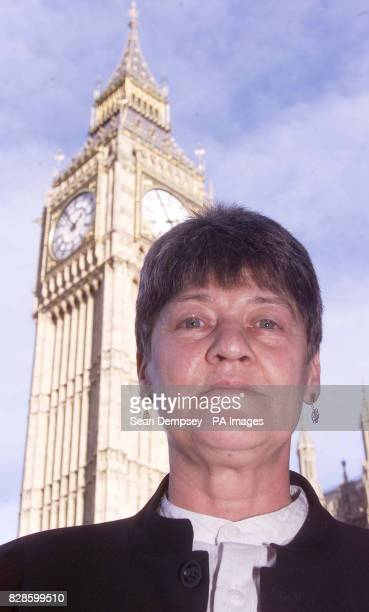 Shirley Pearce a lesbian teacher who says she was forced out of her teaching job by a sustained campaign of harassment by pupils outside the House of...