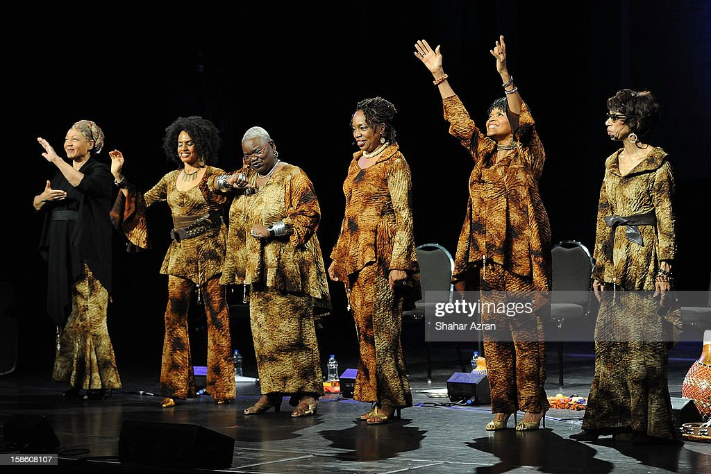 Shirley Saxton, Aisha Kahlil, Ysaye Barnwell, Louise Robinson, Nitanju Casel and Carol Maillard perform during Sweet Honey In The Rock: Celebrating The Holydays at The Apollo Theater on December 20, 2012 in New York City.