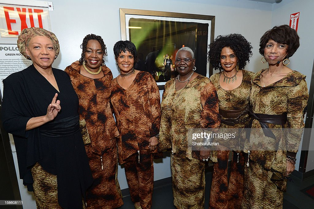 Shirley Saxton, Louise Robinson, Nitanju Casel, Ysaye Barnwell, Aisha Kahlil and Carol Maillard backstage before Sweet Honey In The Rock: Celebrating The Holydays at The Apollo Theater on December 20, 2012 in New York City.