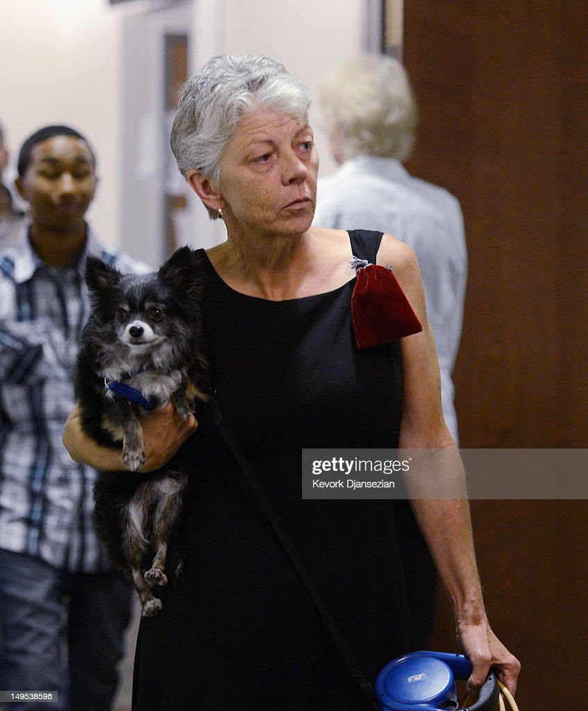 Shirley Wygal, the mother of slain 32-year-old Rebecca Wingo, arrives at the Arapahoe County Courthouse for the arraignment of accused theater gunman James Holmes July 30, 2012 in Centennial, Colorado. Holmes is charged with 24 counts of murder and 116 counts of attempted murder in the July 20, shooting rampage at an opening night screening of 'The Dark Knight Rises' in Aurora, Colorado.