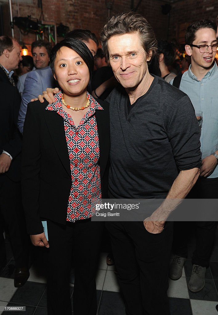 Shirlyn Wong and actor <a gi-track='captionPersonalityLinkClicked' href=/galleries/search?phrase=Willem+Dafoe&family=editorial&specificpeople=203171 ng-click='$event.stopPropagation()'>Willem Dafoe</a> attend the premiere of Love's Routine, the winning US film from the Trigger Street Productions Presents Jameson First Shot competition at the Wythe Hotel on June 19, 2013 in Brooklyn, New York.