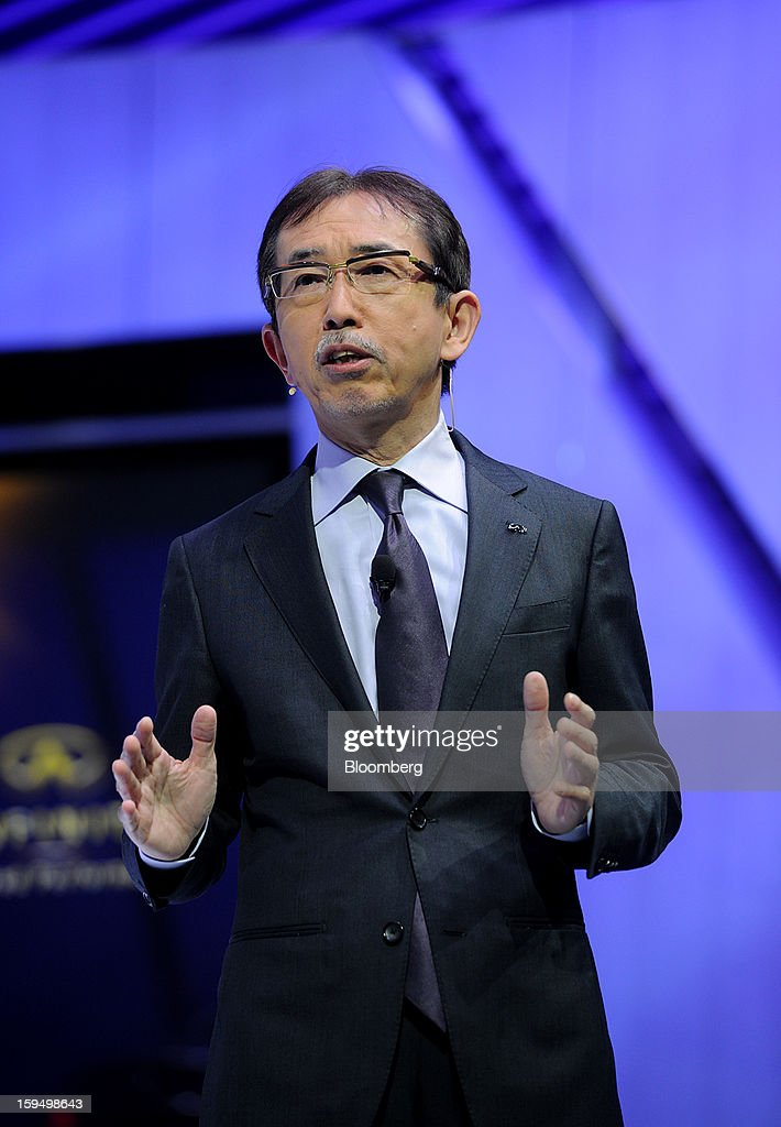 Shiro Nakamura, senior vice president of Nissan Motor Co., speaks during the unveiling of the Infiniti Q50 sedan at the 2013 North American International Auto Show (NAIAS) in Detroit, Michigan, U.S., on Monday, Jan. 14, 2013. The Detroit auto show runs through Jan. 27 and will display over 500 vehicles, representing the most innovative designs in the world. Photographer: Daniel Acker/Bloomberg via Getty Images