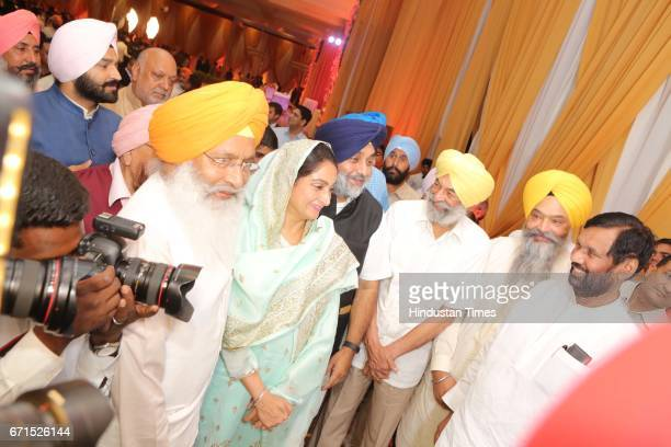 Shiromani Akali Dal Chief Sukhbir Singh Badal and Union Food Processing Industry Minister Harsmit Kaur Badal with Minister of Consumer Affairs Food...