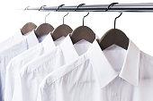 Shirt and hanger hang on a paul