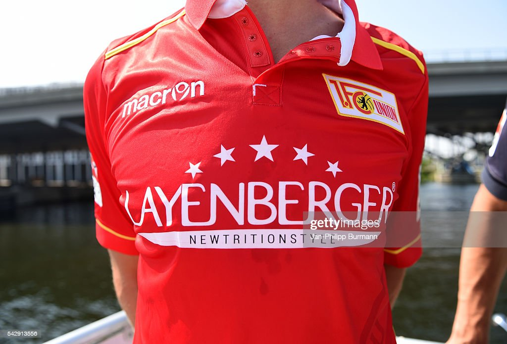 shirt during the presentation of the new shirts of Union Berlin on June 25, 2016 in Berlin, Germany.