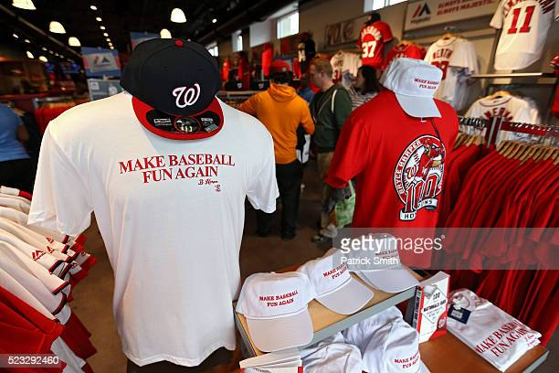 A shirt for sale in the Nationals team store reads 'Make Baseball Fun Again' quoting Bryce Harper of the Washington Nationals at Nationals Park on...