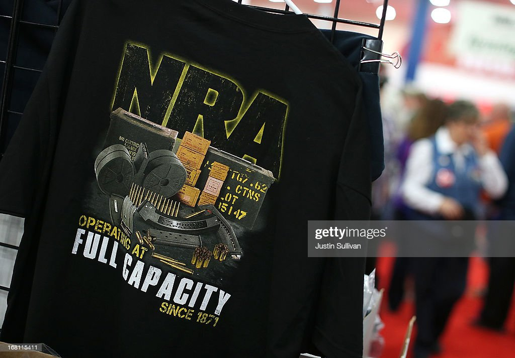 A shirt in displayed in the NRA Store during the 2013 NRA Annual Meeting and Exhibits at the George R. Brown Convention Center on May 5, 2013 in Houston, Texas. More than 70,000 people attended the NRA's 3-day annual meeting that featured nearly 550 exhibitors, a gun trade show and a political rally.