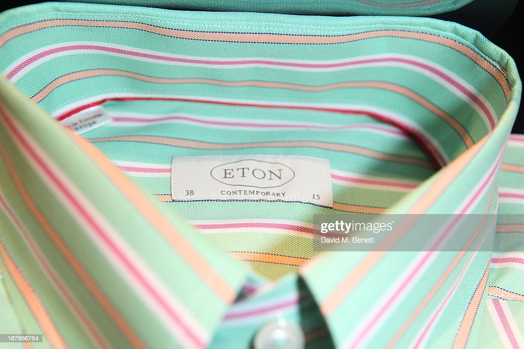 Shirt label detail at the opening of ETON shirts London flagship store on South Moulton Street on May 2, 2013 in London, England.