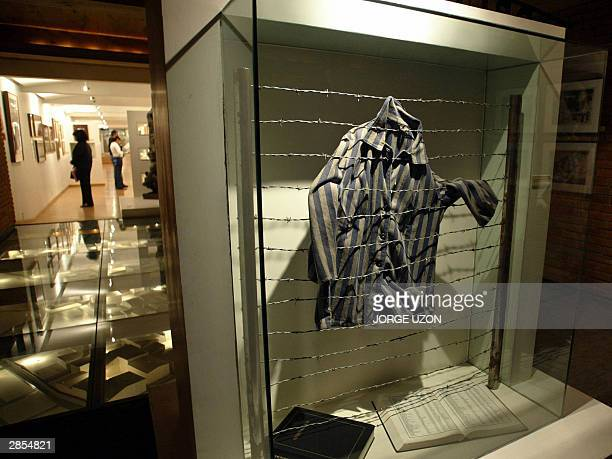 A shirt of one of the thousands of victims of concentration camps during the Nazi ocupation during World War II is displayed at the Jewish Historical...