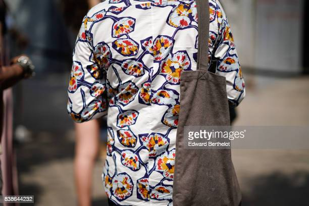 A shirt with colored prints outside the Y/Project show during Paris Fashion Week Menswear Spring/Summer 2018 on June 21 2017 in Paris France