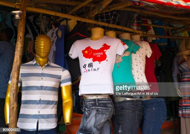 Shirt with the China map for sale in a market Omo valley Jinka Ethiopia on June 10 2017 in Jinka Ethiopia