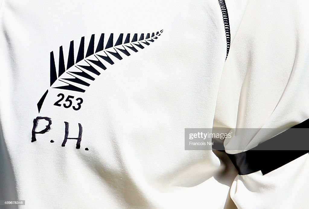 A shirt worn by a player of New Zealand displays the initials P.H. in memory of Australian cricketer Phillip Hughes who died as a result of head injuries sustained during the Sheffield Shield match between South Australia and New South Wales at the SCG on Tuesday, during day two of the third test between Pakistan and New Zealand at Sharjah Stadium on November 28, 2014 in Sharjah, United Arab Emirates.