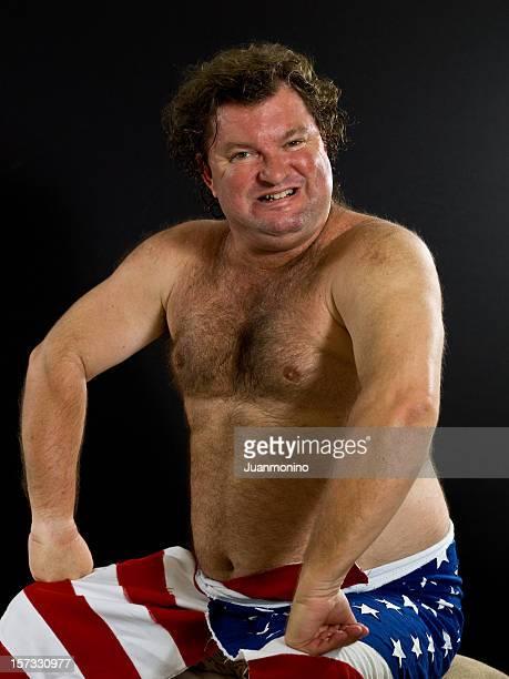 Shirtless Caucasian Mature Man Wearing American Flag