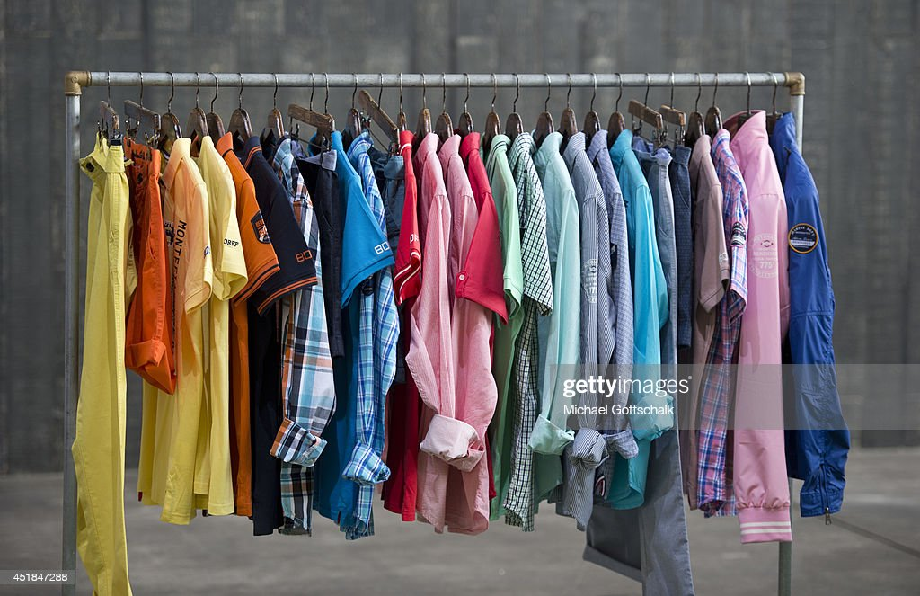 Shirts are displayed on a clothes rack at the Bread and Butter trade show at the former Tempelhof airport on July 08, 2014 in Berlin, Germany.