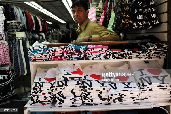 Shirts bearing the 'I Love New York' logo are displayed at a store in Times Square on May 10 2010 in New York City As a result of a $92 billion...