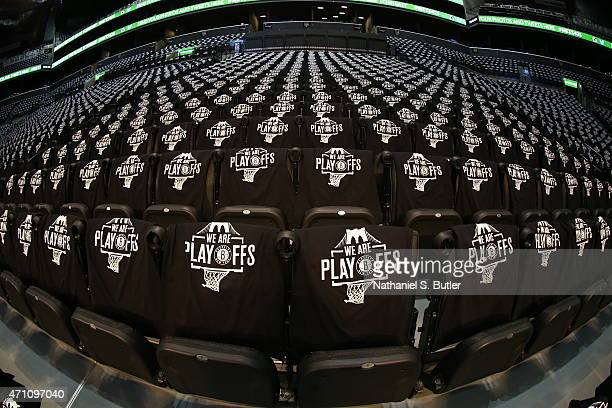 Shirts for the fans of the Brooklyn Nets lay on chairs before a game against the Atlanta Hawks in Game Three of the Eastern Conference Quarterfinals...